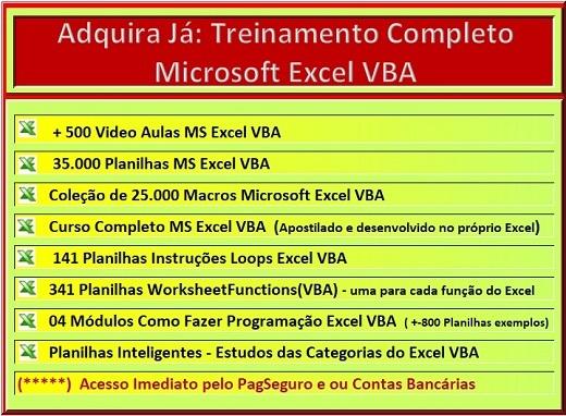 PROMOÇÃO: Aprenda Excel VBA, escrevendo menos e fazendo mais, com simplicidade de códigos. PagSeguro ou Contas Bancárias